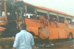 two killed 23 wounded in bus accident on yamuna expressway