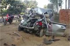moradabad car and tractor trolley clash at nh 24 4 painful death