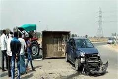 car and tractor collision on lucknow express way