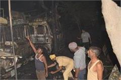 3 trucks burning of the falling of dia burning outside the religious site