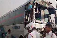 a truck full of gravel collided with the volvo bus