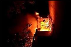 burning fire in the wooden kiosks