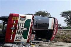 speeding truck collided with bus and 16 people injured in accident