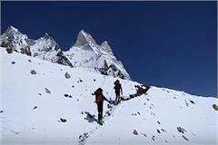 ice skiing at the height of 6000 meters in the himalayas