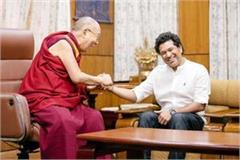 sachin taken bless from dalailama foundation stone of museum