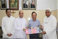 harsh vardhan meets archbishop couto of delhi