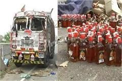accident alcohol bottles truck