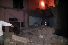 agra 2 storeyed house collapsed in cylinder burst 5 killed 8 wounded
