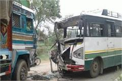 himachal roadways bus collided with truck 22 passenger serious