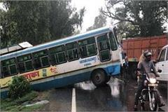 bus collides with bus and truck on karnal indri road dozens injured