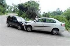 collision between two cars on sharp turn 4 injured