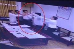 lawyer and tehsildar battle in office cctv recorded