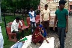 mother and son returning from ganga bath crushed by tractor