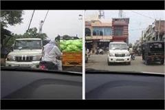 haryana government van ramp up on busy road video viral
