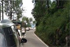 kalka shimla nh hanged on hundreds vehicle