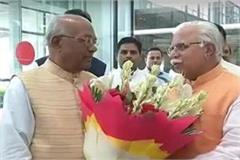 cm khattar welcomes haryana s new governor