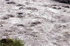 flood in ravine due to cloud burst