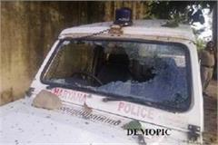 police personnel strike in police station smashed government car