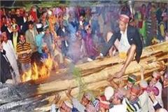 burning wood of flambeau on devalu
