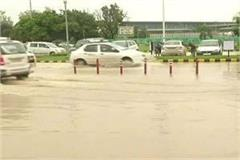 rain water on the streets of lucknow airport