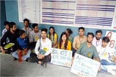 abvp worker sitting on hunger strike in college about demands