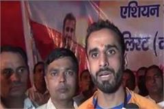 manjit s grand welcome in asian games gold medalist