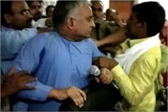 bjp mla surendra singh beaten dios in ballia