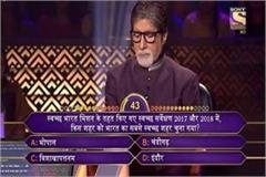 question of  cleanliness  of indore made of  kbc