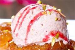 apple jalebi with gulab ice cream