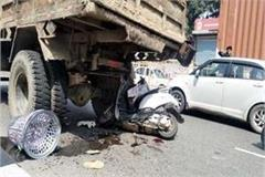 scooty collided from truck on damtal highway mother son injured