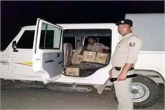 police 10 liquor boxes caught from pickup jeep