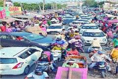 increased shopping due to navratri roads jammed with customers  vehicles