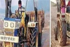 tractors doing mining work in sarsa river without number plates