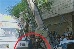 uncontrolled bus collided with electric pole