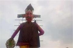 ravana combustion due to rain crisis waterproof effigies were made
