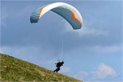 palampur army area paraglider land stir