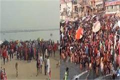 crowd in prayagraj and varanasi on the holy festival of kartik purnima