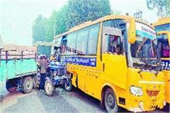 tractor rammed school bus uncontrolled school children