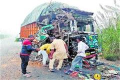oil tanker and truck collision four hours jind rohtak road jammed