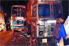 haryana roadways bus collided with dumper 12 passengers injured