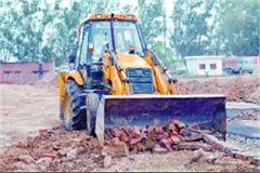 roads and sewerage lines uprooted by illegal colony