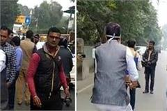 lucknow congress mlc deepak singh arrives by bicycle expresses anger