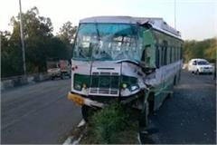 hrtc bus collided with a spoiled truck on panchkula kalka road