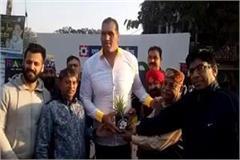 wrestler great khali reached yamunanagar