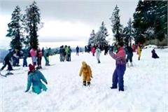 tourists inundated after snowfall in kufri