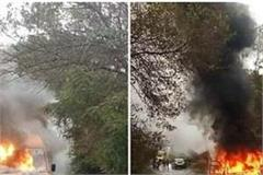 kangra a sudden fire in the bus of arani university