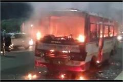 running fire on the roadways bus passengers jump and save