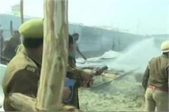 a fire in digambar akhara of kumbh mela area