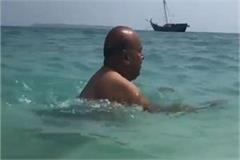 fitness like 17 at 70 gehlot floating in the sea for half an hour