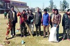 bjp run cleanliness campaign in indira ground
